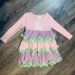 Lolly Wolly Doodle Pastel Rabbit Dress Size 4-5
